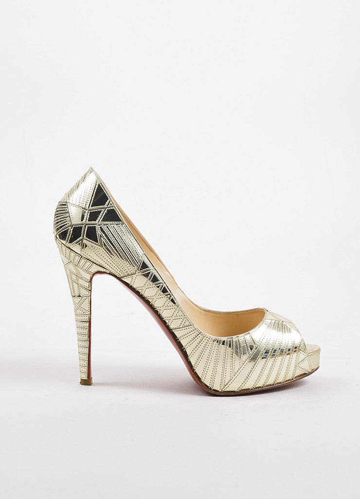 "Christian Louboutin Gold Leather Mirrored ""Very Galaxy"" Pumps Sideview"
