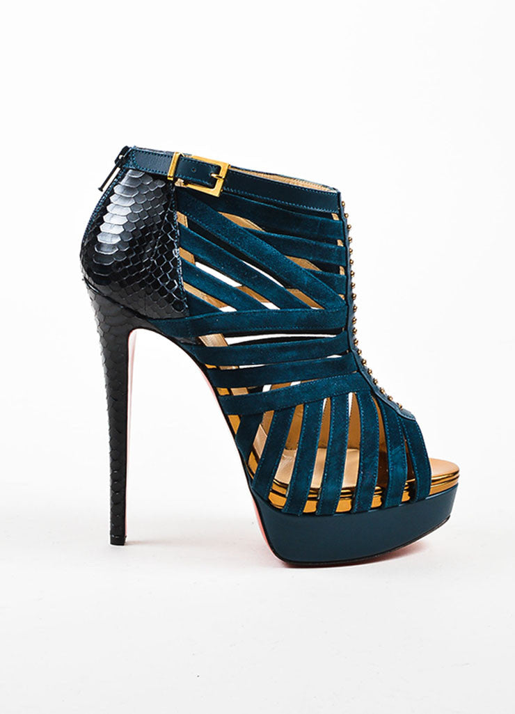 "Blue Watersnake Christian Louboutin ""Karina 150"" Peep Toe Heels Sideview"