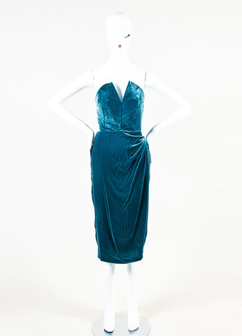 "Cushnie Et Ochs Teal Crushed Velvet ""Jessica"" Strapless Dress frontview"
