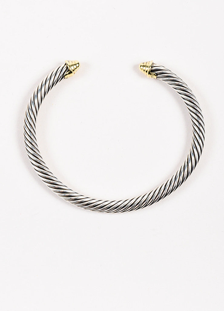"David Yurman 14K Yellow Gold Sterling Silver ""Cable Classic"" Bracelet Top"