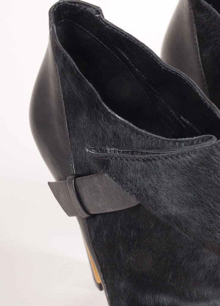 Derek Lam New In Box Black Pony Hair Leather Wrap High Heel Booties Detail