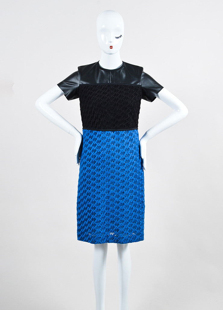 Black and Blue Derek Lam Vegan Leather Crochet Knit Color Block Short Sleeve Dress Frontview