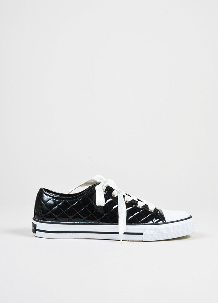 Black and White Dolce & Gabbana Patent Leather Quilted Low Top Sneakers Sideview