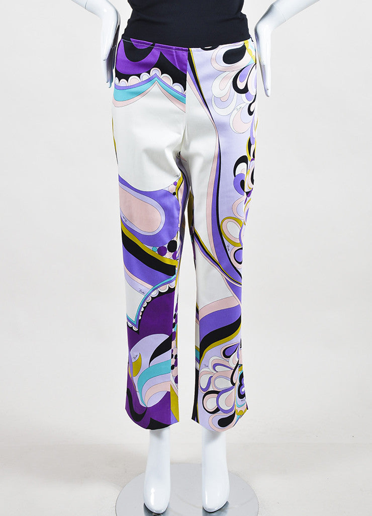 Emilio Pucci Firenze Multicolor Cotton Abstract Printed Pants Frontview