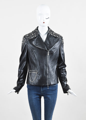 Escada Black and Silver Nappa Leather Studded Moto Jacket Frontview 2