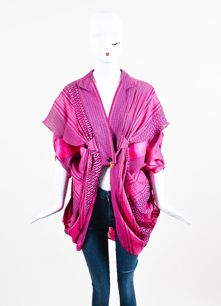 Etro Pink and Black Silk Blend Woven Shimmer Draped Short Sleeve Jacket Cover Up Frontview 2