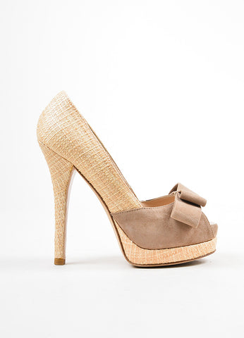 å´?ÌÜFendi Beige and Taupe Straw Suede Bow Peep Toe Platform Pumps  Sideview
