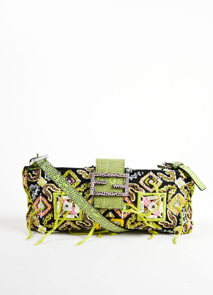 Fendi Multicolor Fabric and Lizard Tribal Print Bead and Fringe Baguette Handbag Frontview