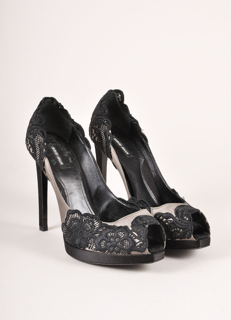 Giorgio Armani Black and Grey Satin and Lace Peep Toe Pumps Frontview