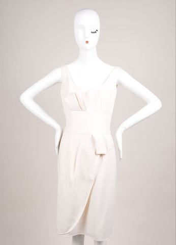 Giorgio Armani Cream Pleated Bow Wrap Sleeveless Shift Dress Frontview