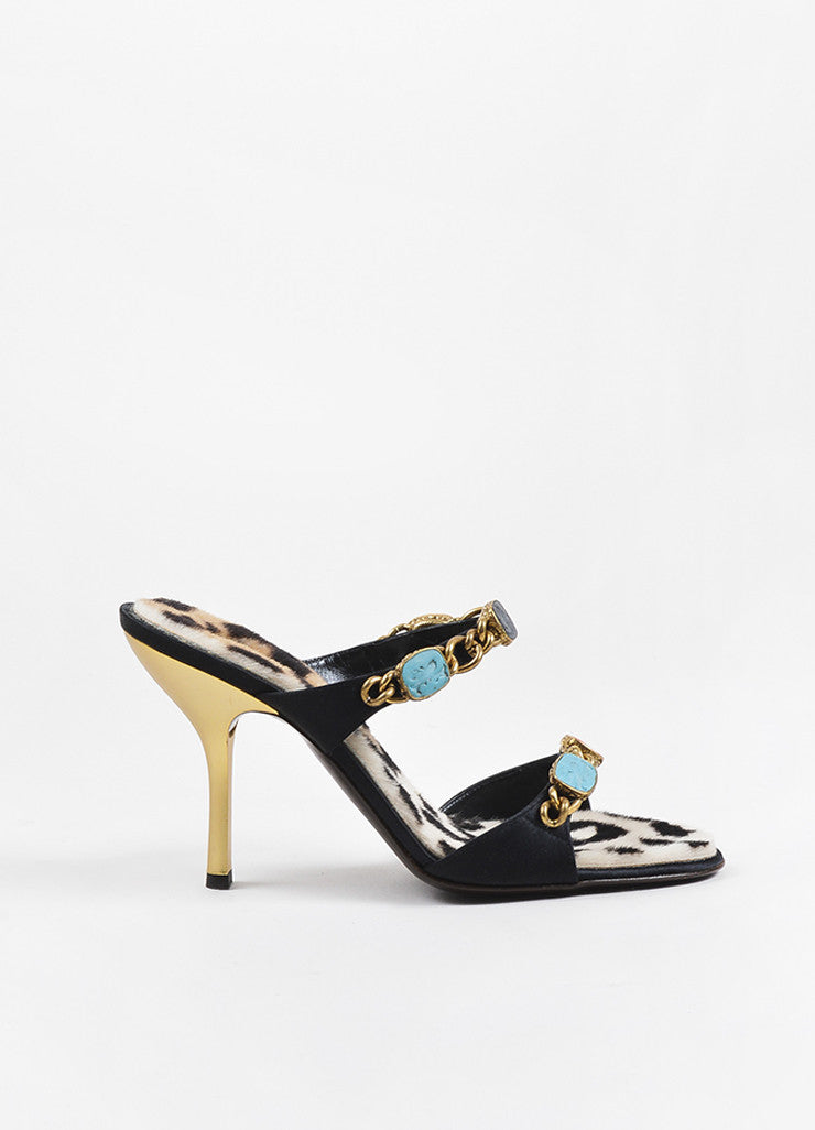 Black Giuseppe Zanotti Satin Stone Chain Embellished Heel Sandals Side