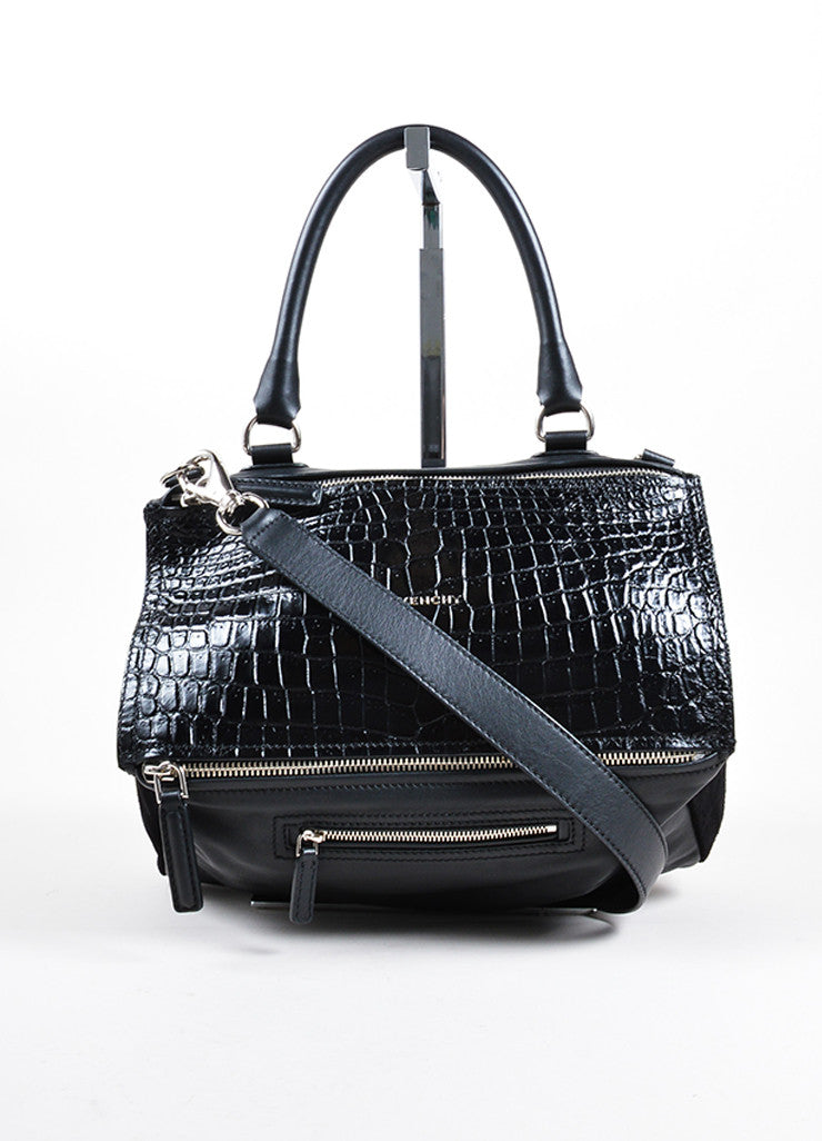 "Givenchy Black Crocodile Embossed Leather Suede ""Pandora"" Shoulder Bag Frontview"