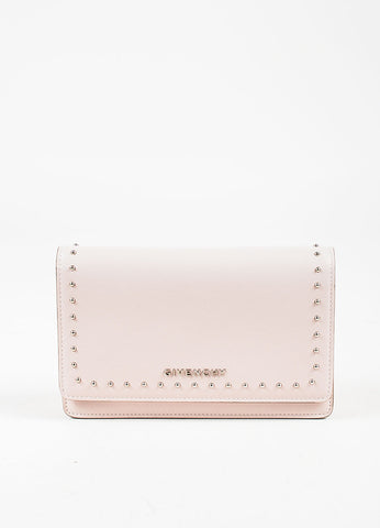 "Givenchy Pink Calf Leather Silver Stud "" 'Pandora Chain Wallet"" Clutch Bag Frontview"