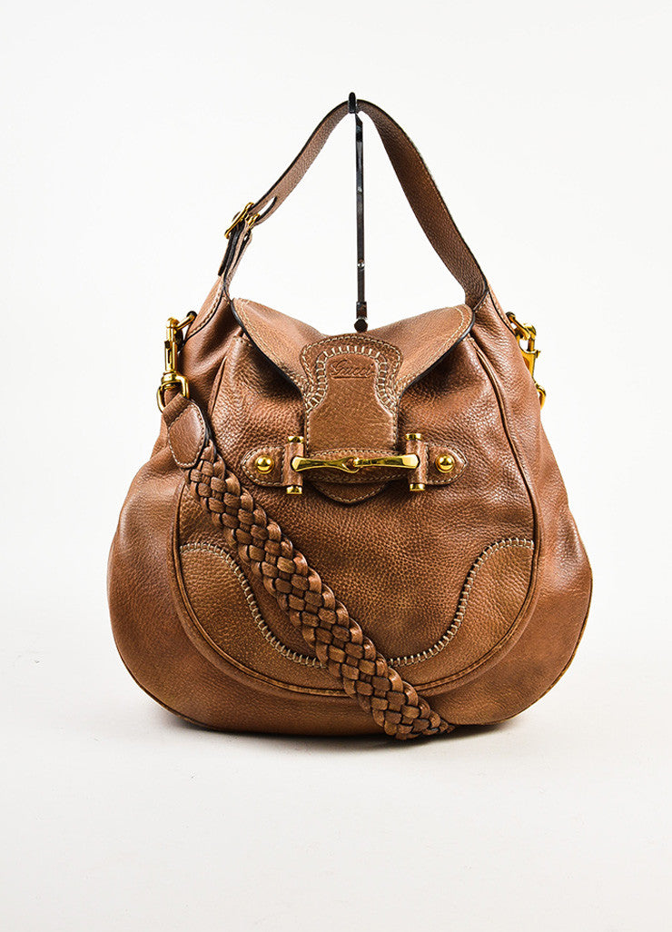 "Gucci Brown Leather Horsebit Accent ""New Pelham"" Hobo Shoulder Handbag Frontview"