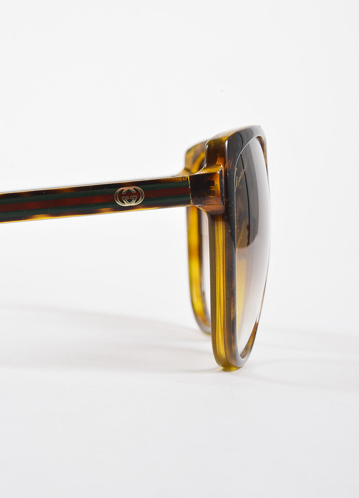 Gucci Brown Tortoise Shell Gradient Lens Web Temple Cat Eye Sunglasses Detail