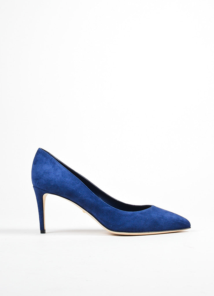 "Navy Blue Gucci Suede Pointed Toe ""Brooke 75mm"" Pumps Side"