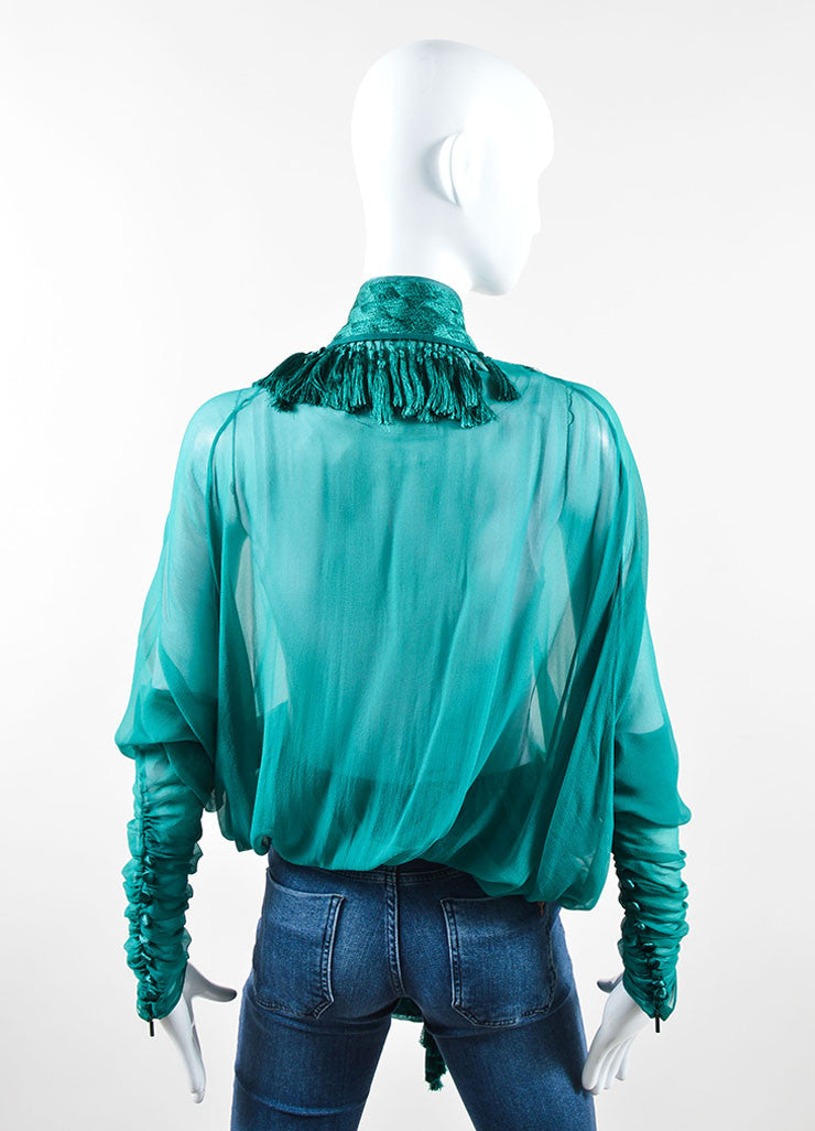 Gucci Green Chiffon Embroidered Tassel Dolman Sleeve Beach Wrap Backview