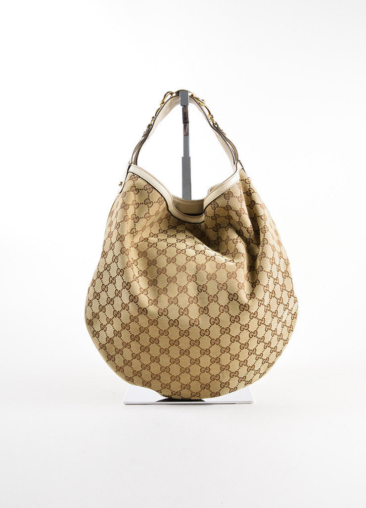 "Gucci Beige Monogram Canvas and Leather Horsebit ""Catena"" Hobo Bag Frontview"