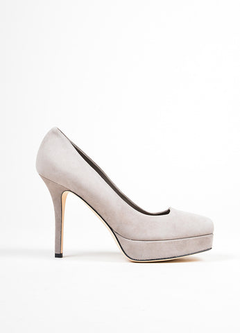 """Tile"" Grey Gucci Suede Mid Heel Platform Square Toe Pumps Sideview"