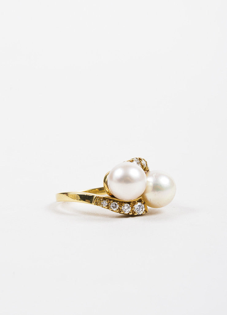 Gump's 18K Yellow Gold Diamond Accented Pearl Embellished Bypass Ring Sideview