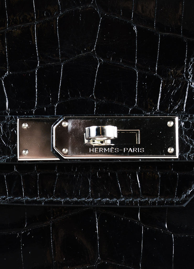 "Hermes Rare Black SHW Shiny Nilo Crocodile Leather 30 cm ""Birkin"" Bag Detail 6"