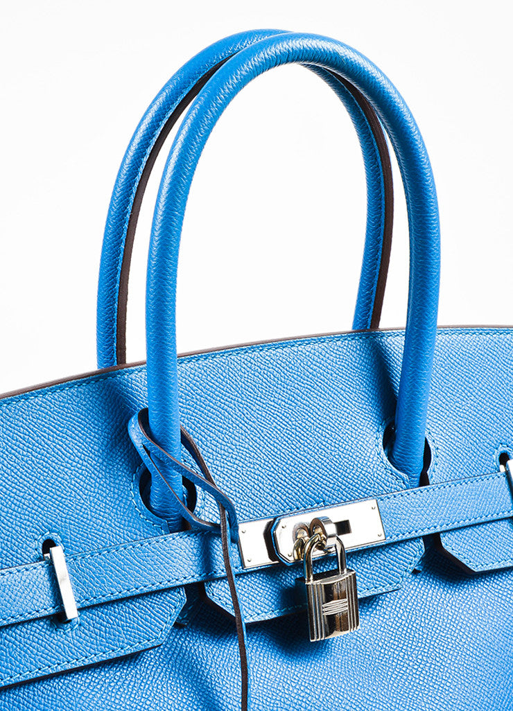 "Hermes Bleu de Galice Epsom Leather Palladium Hardware ""Birkin"" Bag Detail 7"