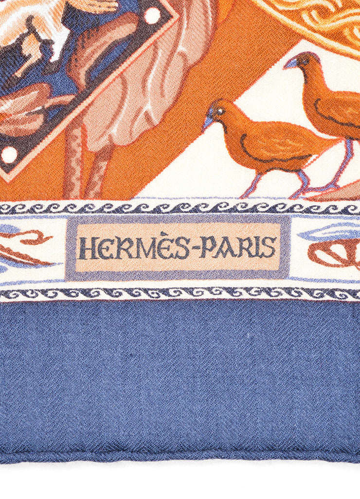 "Hermes Navy and Brown Cashmere and Silk ""Le Jardin des Copte"" Exotic Print 90cm Scarf Brand"
