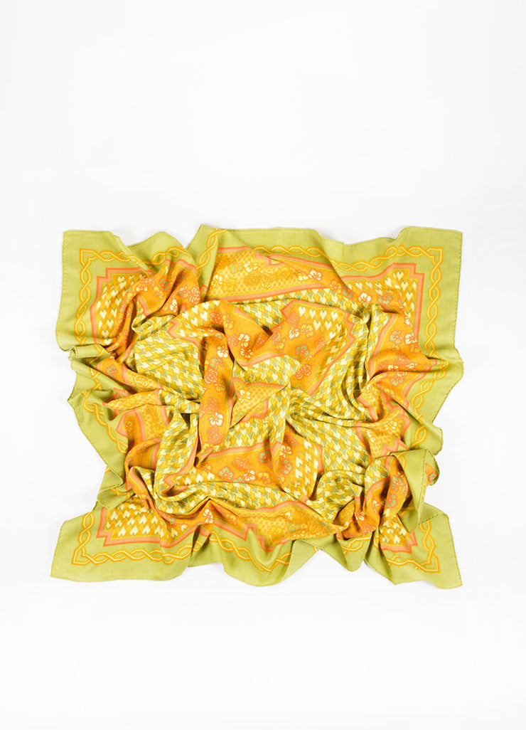 Orange and Green Hermes Cashmere and Silk Geometric Pattern 140cm Pashmina Scarf Frontview