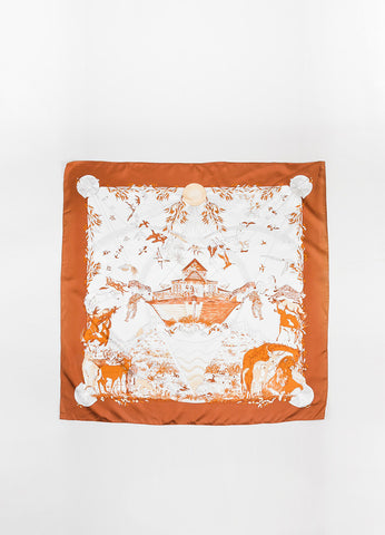 "Hermes Rust Orange and Cream ""Apres Le Deluge"" Animal Print Square Scarf Frontview 2"