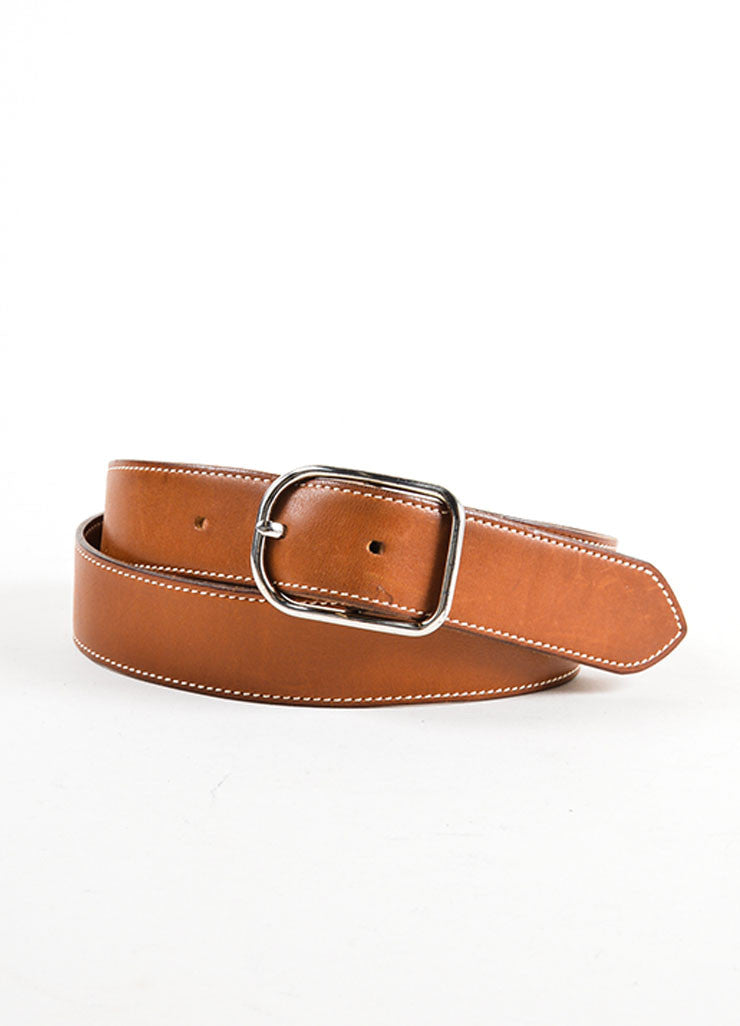 "Brown Leather and Silver Toned Hermes ""Rafale"" Belt Frontview"