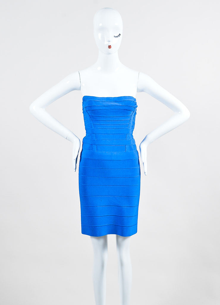 Cobalt Blue Herve Leger Bandage Paneled Strapless Bodycon Mini Dress Frontview