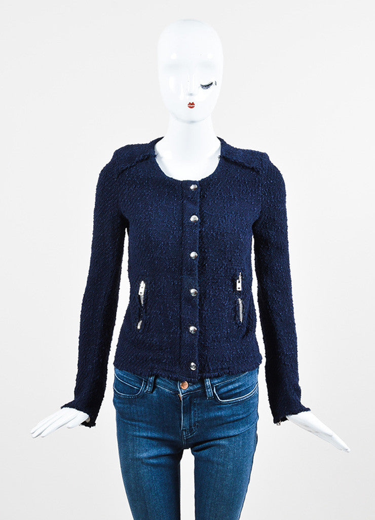 Navy Blue IRO Wool Boucle Silver Toned Zip Snap Jacket Frontview 2