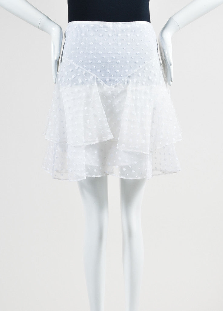 White Isabel Marant Silk Floral Embroidered Ruffle Layered Skirt Frontview