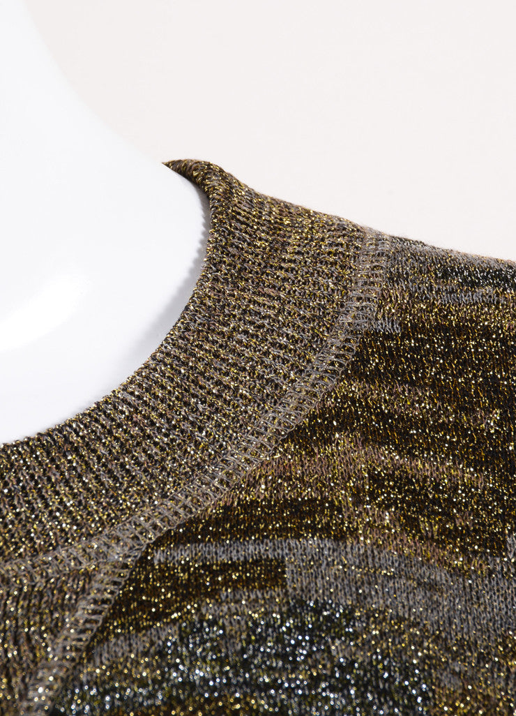 "Isabel Marant Multicolor Metallic Camo Print ""Watson"" Short Sleeve Sweater Detail"