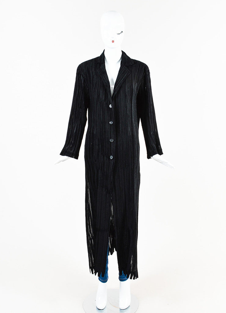 Issey Miyake Black Stretch Striped Velvet Trim Pleated Long Duster Jacket Frontview 2