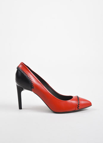 "Jason Wu Red and Black Leather ""Lily"" Whipstitched Pointed Pumps Sideview"
