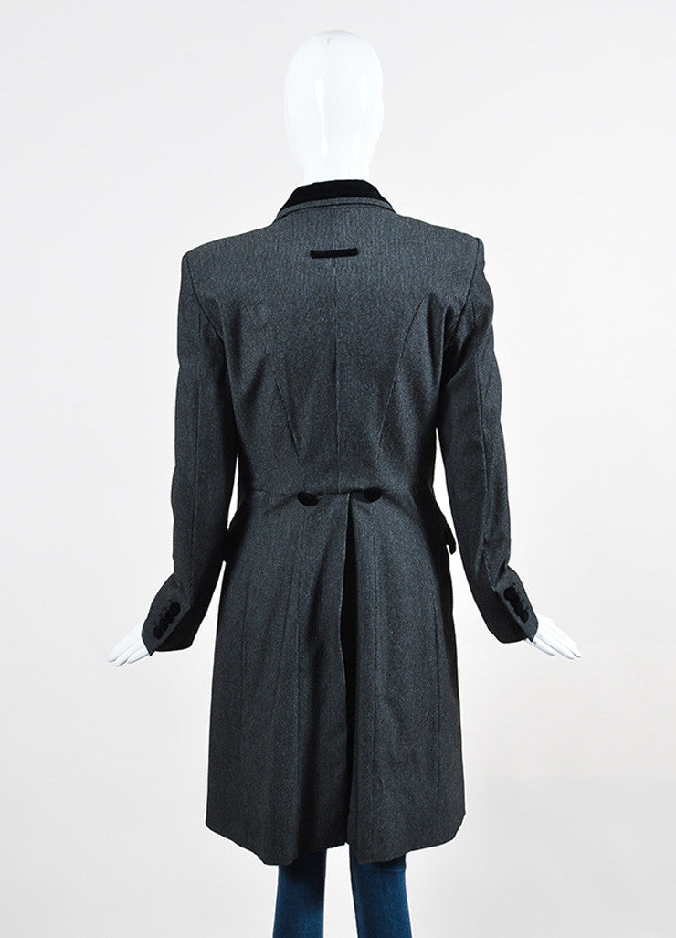 Black and Grey Jean Paul Gaultier Classique Velvet Collar Tail Coat Backview