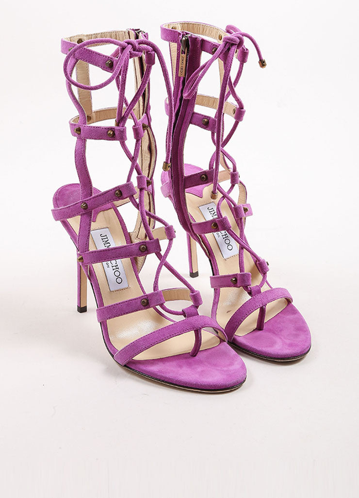 "Jimmy Choo Purple Suede Leather Lace Up Gladiator ""Manous"" Sandals Frontview"