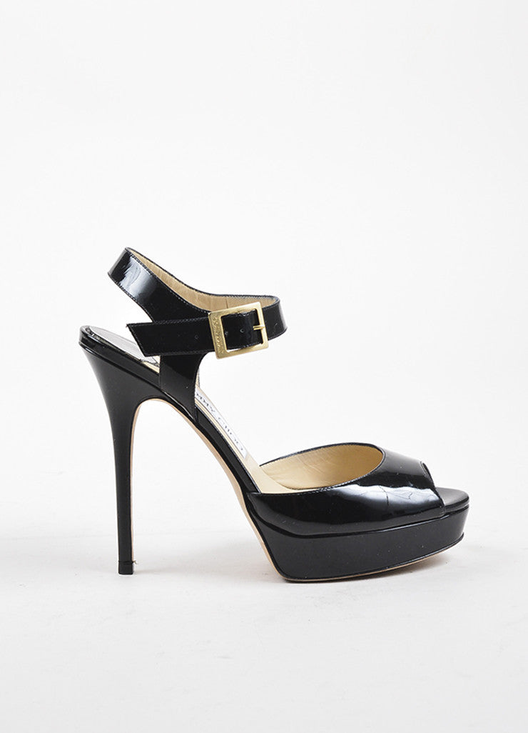 "Jimmy Choo Black Patent Leather Peep Toe ""Linda"" Platform Buckled Pumps Sideview"