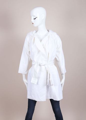Karolina Zmarlak White Nylon Hooded Belted Jacket Frontview