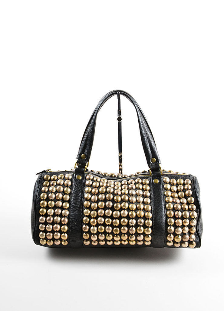 Lanvin Black and Gold Toned Distressed Studded Leather Barrel Bag Frontview