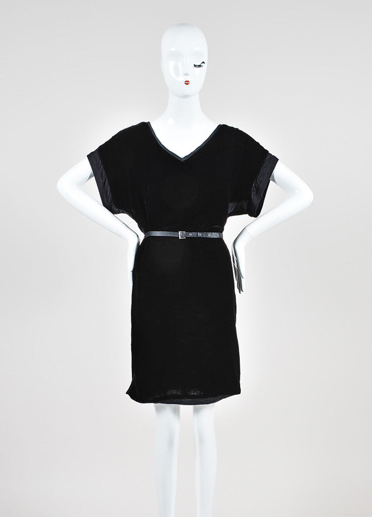 Black Lanvin Velvet Belted V-Neck Short Sleeve Dress Frontview