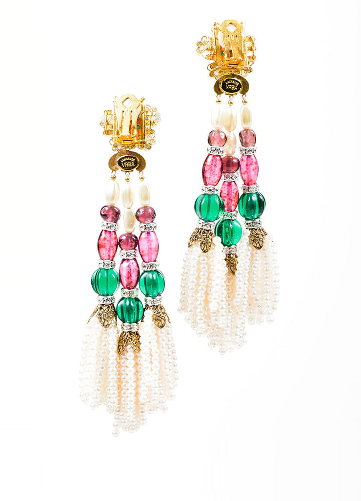 Multicolor Bead Lawrence VRBA Tassel Clip On Earrings Back