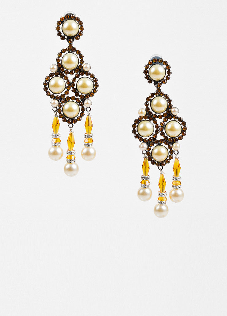 Lawrence VRBA Orange Crystal Faux Pearl Chandelier Clip On Earrings Frontview