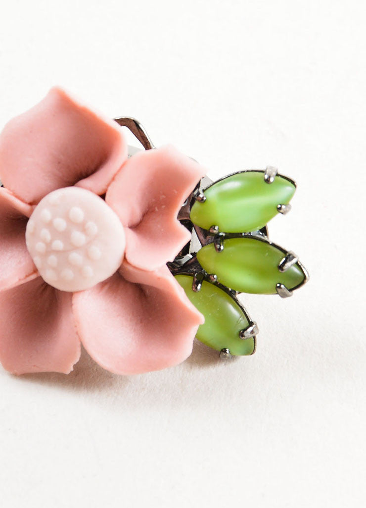 Lawrence Vrba Pink and Green Ceramic Clay Flower Earrings Detail