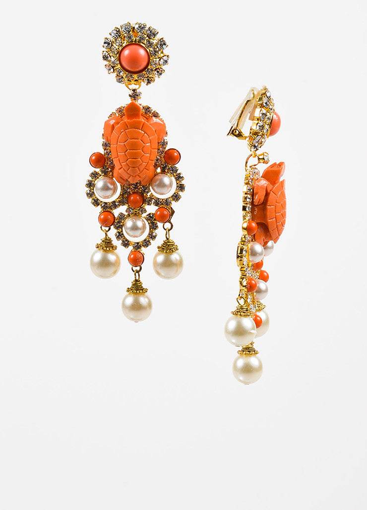 Lawrence VRBA Gold Toned and Coral Turtle Crystal Accent Chandelier Clip On Earrings Sideview