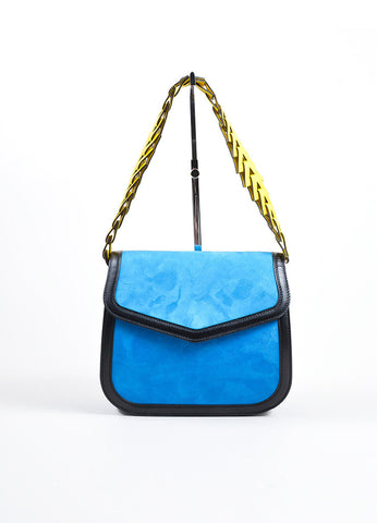 "Blue, Black, and Yellow Loewe Suede Leather Flap Cut Out ""V"" Shoulder Bag Frontview"
