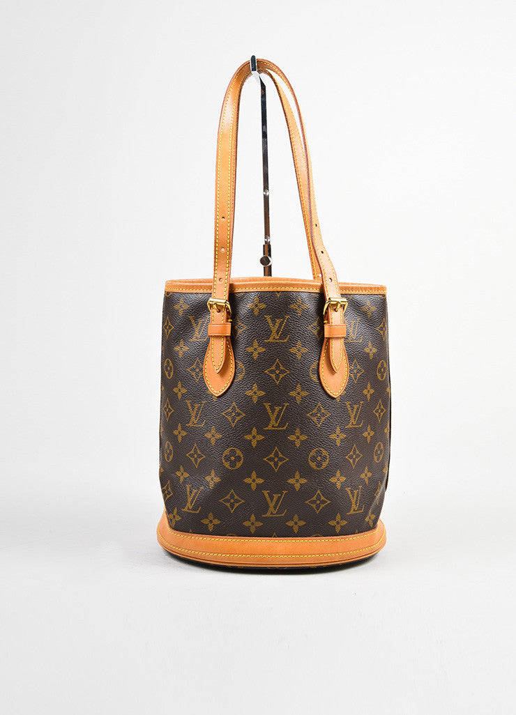 "Brown Louis Vuitton Coated Canvas Monogram ""Petit Bucket"" Tote with Pochette Frontview"