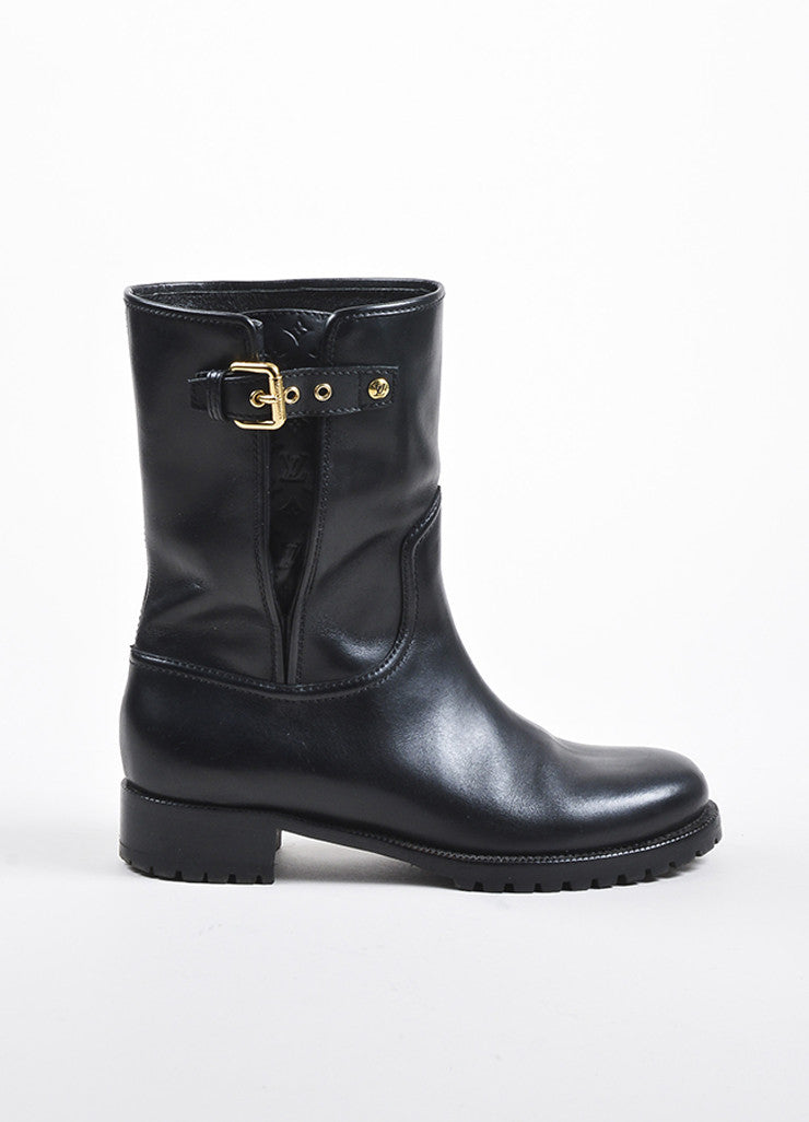 Louis Vuitton Black Leather Monogram Embossed Moto Boots Sideview