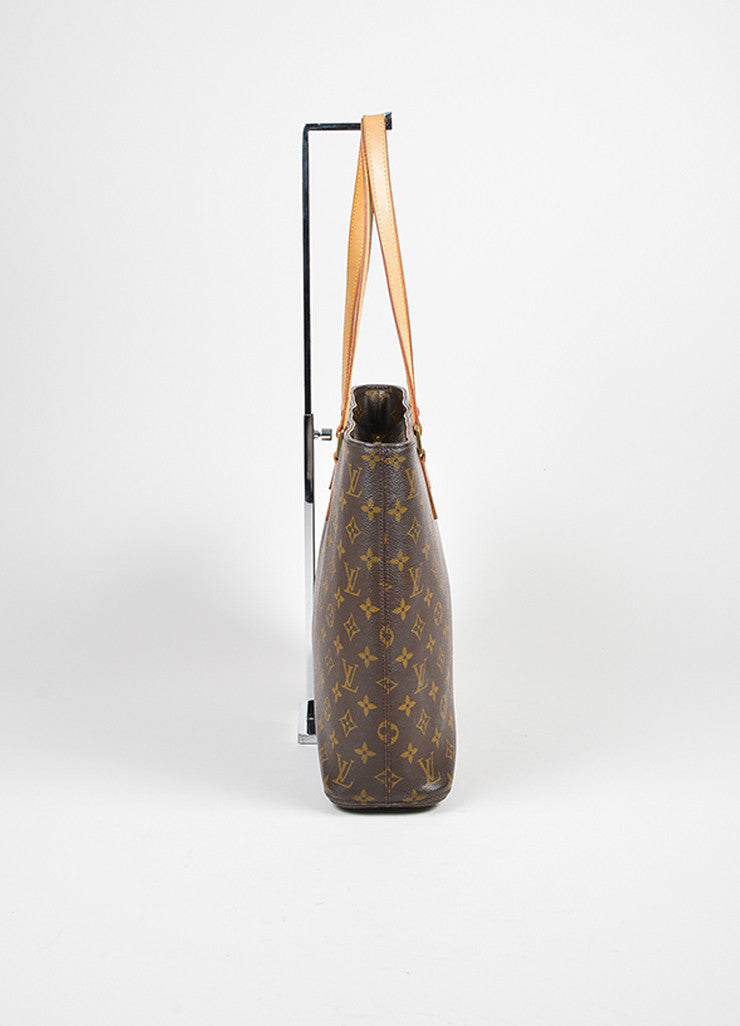 "Brown Louis Vuitton ""Luco"" Monogram ""LV"" Canvas Tote Bag Sideview"